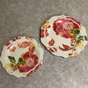 Melamine Floral Dinner and Salad Plates